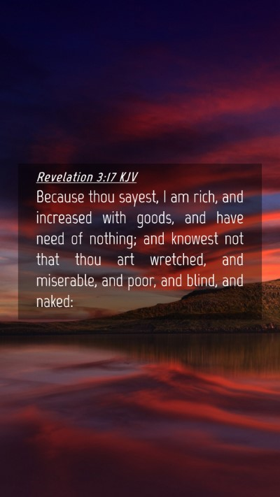 Picture 04 - Revelation 3:17 KJV Mobile Phone Wallpaper - Because thou sayest, I am rich, and increased - Mobile Bible Verse Wallpaper