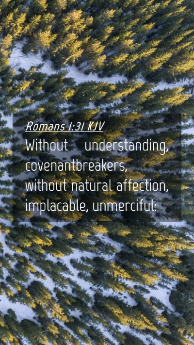 Picture 04 - Romans 1:31 KJV Mobile Phone Wallpaper - Without understanding, covenantbreakers, without - Mobile Bible Verse Wallpaper