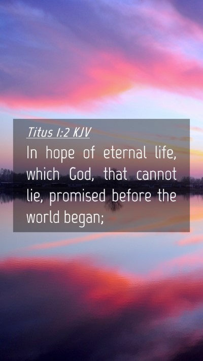 Picture 04 - Titus 1:2 KJV Mobile Phone Wallpaper - In hope of eternal life, which God, that cannot - Mobile Bible Verse Wallpaper