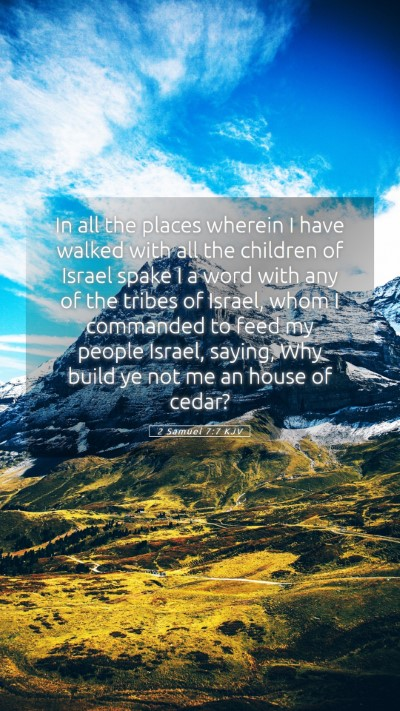 Picture 05 - 2 Samuel 7:7 KJV Mobile Phone Wallpaper - In all the places wherein I have walked with all - Mobile Bible Verse Wallpaper