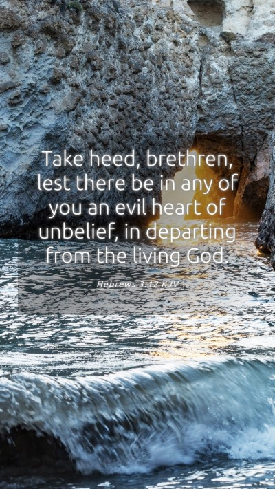 Picture 05 - Hebrews 3:12 KJV Mobile Phone Wallpaper - Take heed, brethren, lest there be in any of you - Mobile Bible Verse Wallpaper