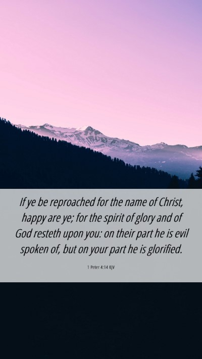 Picture 06 - 1 Peter 4:14 KJV Mobile Phone Wallpaper - If ye be reproached for the name of Christ, happy - Mobile Bible Verse Wallpaper