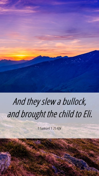 Picture 06 - 1 Samuel 1:25 KJV Mobile Phone Wallpaper - And they slew a bullock, and brought the child to - Mobile Bible Verse Wallpaper