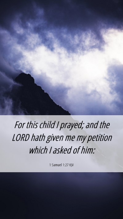 Picture 06 - 1 Samuel 1:27 KJV Mobile Phone Wallpaper - For this child I prayed; and the LORD hath given - Mobile Bible Verse Wallpaper