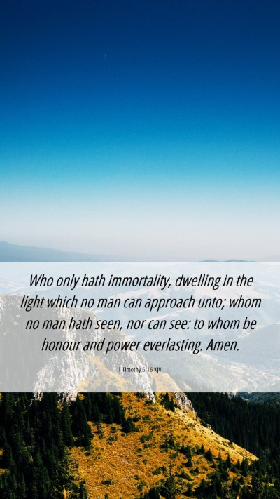 Picture 06 - 1 Timothy 6:16 KJV Mobile Phone Wallpaper - Who only hath immortality, dwelling in the light - Mobile Bible Verse Wallpaper