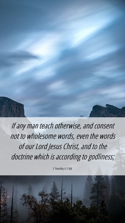 Picture 06 - 1 Timothy 6:3 KJV Mobile Phone Wallpaper - If any man teach otherwise, and consent not to - Mobile Bible Verse Wallpaper