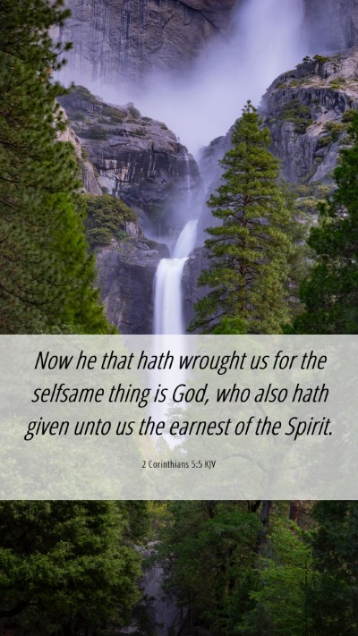 Picture 06 - 2 Corinthians 5:5 KJV Mobile Phone Wallpaper - Now he that hath wrought us for the selfsame - Mobile Bible Verse Wallpaper