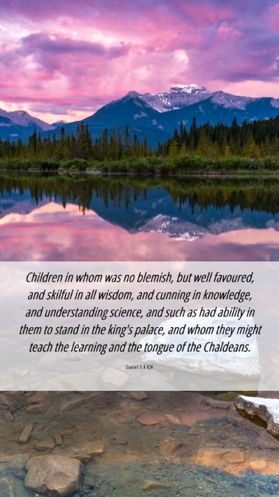 Picture 06 - Daniel 1:4 KJV Mobile Phone Wallpaper - Children in whom was no blemish, but well - Mobile Bible Verse Wallpaper