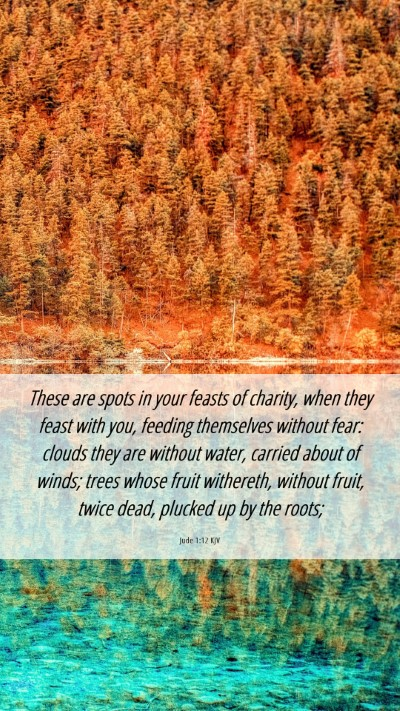 Picture 06 - Jude 1:12 KJV Mobile Phone Wallpaper - These are spots in your feasts of charity, when - Mobile Bible Verse Wallpaper