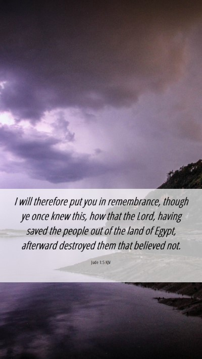 Picture 06 - Jude 1:5 KJV Mobile Phone Wallpaper - I will therefore put you in remembrance, though - Mobile Bible Verse Wallpaper