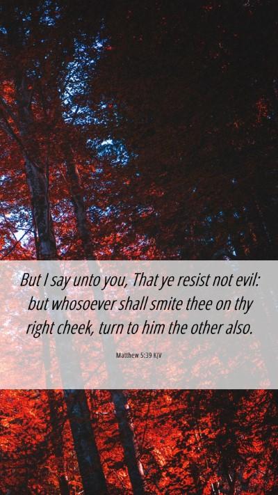 Picture 06 - Matthew 5:39 KJV Mobile Phone Wallpaper - But I say unto you, That ye resist not evil: but - Mobile Bible Verse Wallpaper