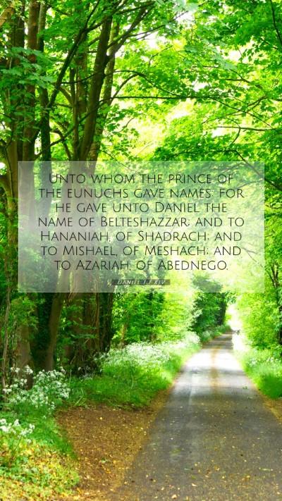 Picture 07 - Daniel 1:7 KJV Mobile Phone Wallpaper - Unto whom the prince of the eunuchs gave names: - Mobile Bible Verse Wallpaper