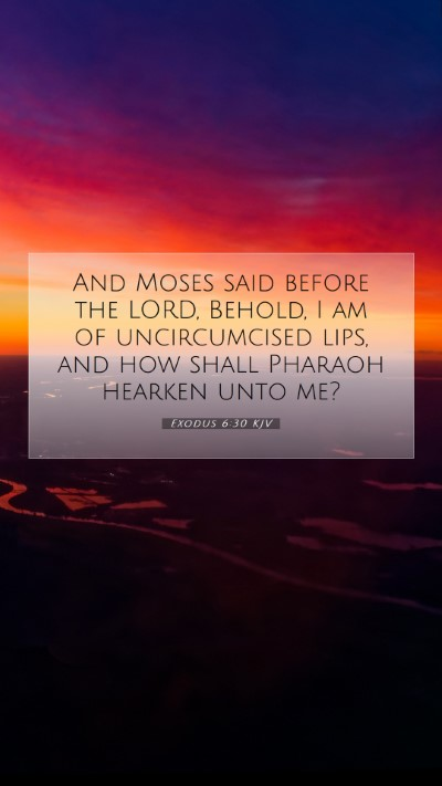 Picture 07 - Exodus 6:30 KJV Mobile Phone Wallpaper - And Moses said before the LORD, Behold, I am of - Mobile Bible Verse Wallpaper