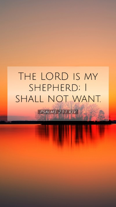 Picture 07 - Psalms 23:1 KJV Mobile Phone Wallpaper - The LORD is my shepherd; I shall not - Mobile Bible Verse Wallpaper