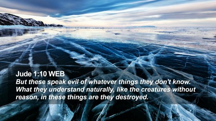 Jude 1:10 WEB Desktop Wallpaper - But these speak evil of whatever things they - Desktop Bible Verse Wallpaper