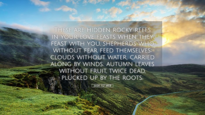Picture 05 - Jude 1:12 WEB Desktop Wallpaper - These are hidden rocky reefs in your love feasts - Desktop Bible Verse Wallpaper