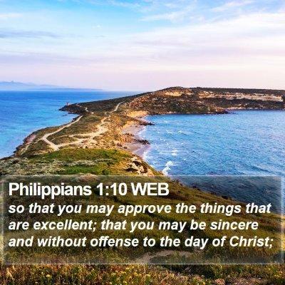Philippians 1:10 WEB Bible Verse Image