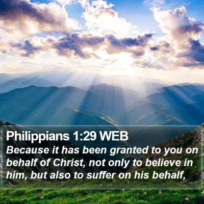 Philippians 1:29 WEB Bible Verse Image