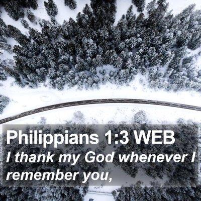 Philippians 1:3 WEB Bible Verse Image