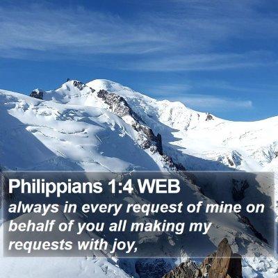 Philippians 1:4 WEB Bible Verse Image