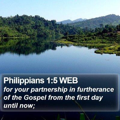 Philippians 1:5 WEB Bible Verse Image