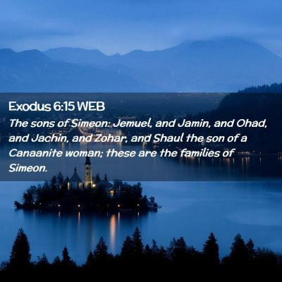 Picture 02 - Exodus 6:15 WEB - The sons of Simeon: Jemuel, and Jamin, and Ohad, - Bible Verse Picture