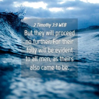 Picture 04 - 2 Timothy 3:9 WEB - But they will proceed no further. For their folly - Bible Verse Picture