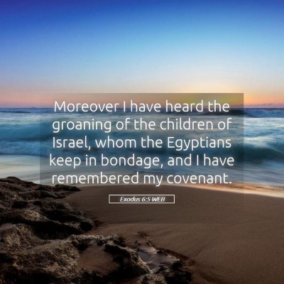 Picture 05 - Exodus 6:5 WEB - Moreover I have heard the groaning of the - Bible Verse Picture