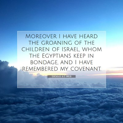 Picture 07 - Exodus 6:5 WEB - Moreover I have heard the groaning of the - Bible Verse Picture